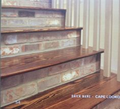 """""""Cape Lookout"""" thin brick going places no brick has gone before! Staircase Remodel, Staircase Makeover, Tile Stairs, House Stairs, Brick Interior, Interior Stairs, Extension Veranda, Stair Renovation, Brick Steps"""
