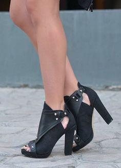 Shoe Cult Black Chic Suede Heeled Sandal Booties