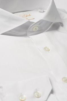 Mens White Formal Business Shirt Extreme Cutaway Collar