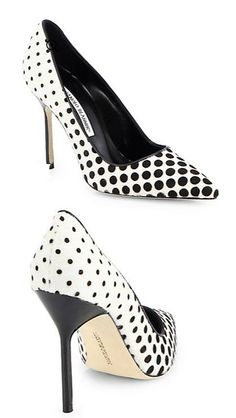 Manolo Blahnik Black White Polka Dot Shoes
