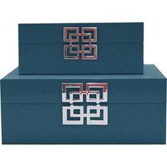 2-Piece Kendall Trinket Box Set in Blue