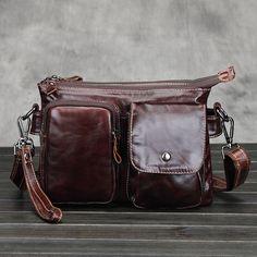 High Quality Men's Messenger Bag Male Genuine Cowhide Leather Crossbody Shoulder Bags Vintage Design Retro Briefcase Small Bag