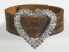 M-wide leather bracelet large Heart