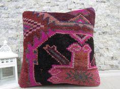 decorative pink rug pillow 16x16 handmade rug pillow sofa pillow handmade pillow tribal pillow 16x16 rug pillow throw pillow