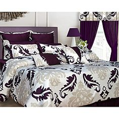 @Overstock.com.com - This Elegance bed in a bag brings a modern look to any bedroom.  This cotton comforter set an enchanting pattern in deep lavish purple and stone against a white background. This set includes a coordinating 350 thread count sheet set.http://www.overstock.com/Bedding-Bath/Elegance-12-piece-King-size-Bed-in-a-Bag-with-Deep-Pocket-Sheet-Set/6364533/product.html?CID=214117 $177.04