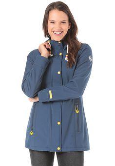 Schmuddelwedda Softshell-Anorak - Funktionsjacke für Damen - Blau - Planet Sports Softshell, Anorak, Models, Raincoat, Jackets, Products, Fashion, Middle, Side Bags