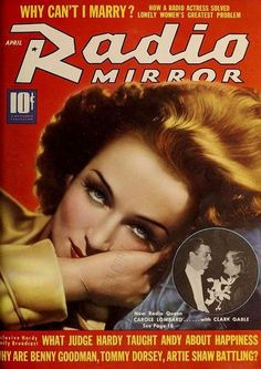 "Carole Lombard on the cover of ""Radio Mirror"" magazine, USA, April 1939."