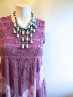 vintage.  Purple Boho Dress / Cotton Tie Dye Dress by styleforlife, $42.25
