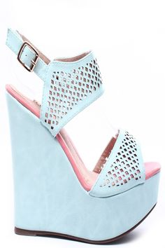 SKY BLUE FAUX LEATHER PERFORATED ANKLE STRAP PLATFORM WEDGE,$26.99 #wedgeheels…