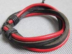 Shoply.com -Fashion leather bracelet with red and black  LB06. Only $3.00