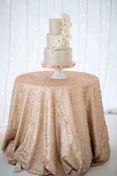 Champagne Sequin Tablecloth/Overlay