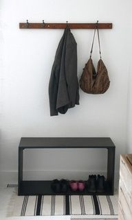 Cheap $$ entryway seat and place for shoes with coat rack