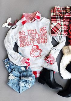Christmas Santa So Tell Me What You Want Sweatshirt Christmas Santa So Tell Me What You Want Sweatshirt Fairyseason Fairyseason Christmas Santa So Tell Me What You Want Sweatshirt Spend your Christmas in comfort hellip Xmas Shirts, Christmas Shirts, Family Christmas, Ugly Christmas Sweater, All Things Christmas, Christmas Holidays, Christmas 2019, Christmas Ideas, Holiday Fashion