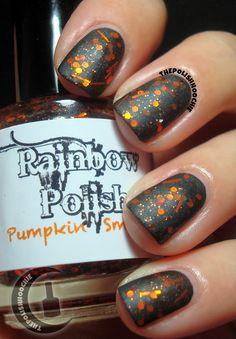 Manglaze Matte is Murder with Rainbow Polish Pumpkin Smashing! By: ThePolishHoochie Toe Nails, Hair And Nails, Swatch, Indie, Nail Polish, Pumpkin, Make Up, Rainbow, Coats
