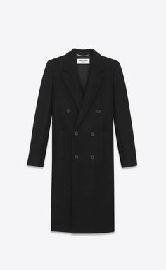 caaf666807d1 Saint Laurent Double Breasted Coat In Black Wool And Polyamide