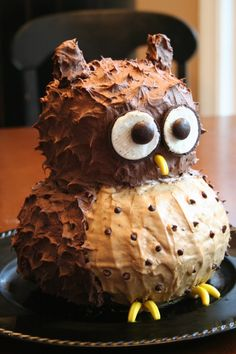 diy owl cake with directions! this one is coffee and chocolate flavored. yummm