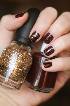 On my nails today: A dark maroon color (so old the label came off and I don't remember what it is) with Sephora by OPI's Only Gold For Me top coat.