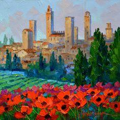 SI82123 San Gimignano Poppies 6x6