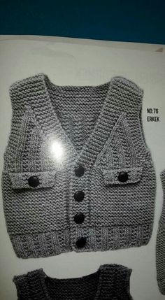 Discover thousands of images about Örgü modelleri yelek bebek [] # # # Gilet Crochet, Knitted Baby Cardigan, Baby Pullover, Knit Crochet, Baby Knitting Patterns, Free Knitting, Crochet For Boys, Crochet Baby, Knit Vest Pattern