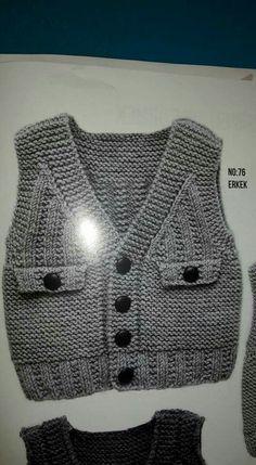 Discover thousands of images about Örgü modelleri yelek bebek [] # # # Gilet Crochet, Knitted Baby Cardigan, Knit Crochet, Baby Boy Knitting Patterns, Knit Patterns, Free Knitting, Crochet For Boys, Crochet Baby, Knit Vest Pattern