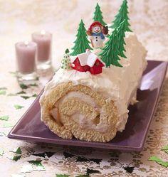 Bûche de Noël poire et caramel au beurre salé - Recettes de cuisine Ôdélices