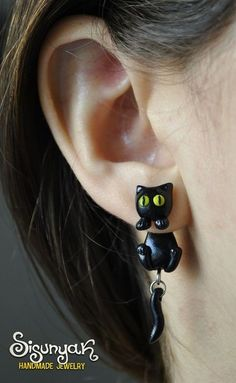I found Black Cat Earrings with surgical steel posts on Wish, check it out!