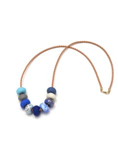Gossling Harvest of Gold 9 Bead necklace in Cornflower