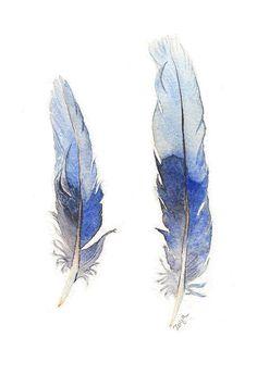 Blue Feathers original watercolour painting of by ZoyaMakarova