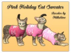 Hello! This is a recolor of the holiday-looking swatch of the cat sweater! It's a bit pinker, with 3 different shades to choose from.  Found in TSR Category 'Sims 4 Cats Accessories'