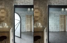 Image 6 of 40 from gallery of Black Drop Coffee Shop / of Architecture. Photograph by studiovd. Architecture Photo, Cafe Restaurant, Terrazzo, Wall Design, Coffee Shop, Oversized Mirror, Drop, Gallery, Furniture