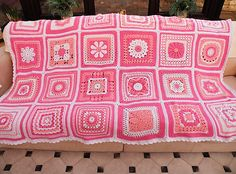 Ravelry: Maryfairy's Pink Square Blanket 2011.  Might do something like this in yellow.
