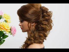 Wedding prom hairstyle for medium long hair. Tutorial - YouTube