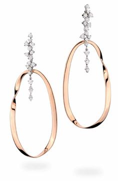 Earrings in white and pink gold with diamonds.