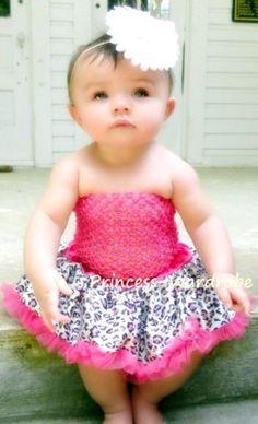 Baby Hot Pink Leopard Pettiskirt Crochet Tube Top 2pc