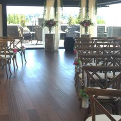 Ceremony at Olympic Rooftop Pavilion c.design and floral by Juniper Flowers