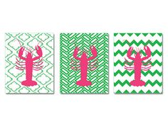 Lobster Wall Art: Your Choice of Pattern Pink Green Lobster by BeachHouseGallery, $12.00