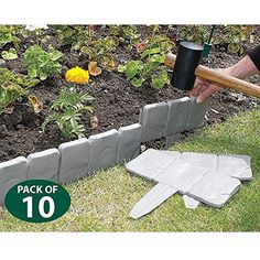 New Grey Cobbled Stone Effect Garden Lawn Edging 10 Pack Plant Border Divider TM79F32M UGBA481127 -- Find out more about the great product at the image link.