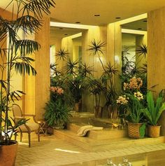 Attention to Detail, 1979 - big indoor plants surrounding the tiled tub. Corps. Gorgeous!