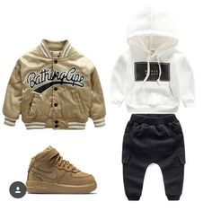 The possibilities are endless with the new for kids featuring the BK x Ape Bomber Basix Hoodie and Black Utility Joggers fresh - October 12 2019 at Little Boy Outfits, Toddler Boy Outfits, Baby Boy Outfits, Toddler Boys, Baby Kids, Children Outfits, Teen Boys, Toddler Boy Fashion, Little Boy Fashion