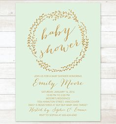 mint gold wreath baby shower invitation by pinkdahliaprintable
