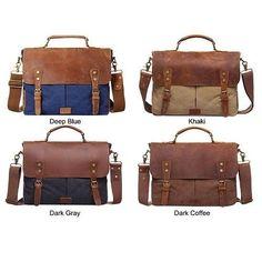 Elegance Mens Leather Messenger Bag Canvas Classic Retro Shoulder Bag School 12L #Unbranded