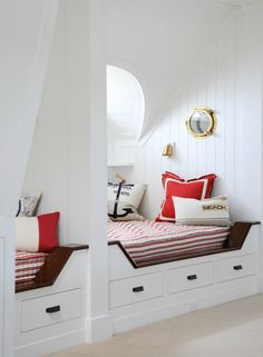 Caccoma Interiors - Nautical boys' bedroom with built in daybeds perfect for twins. Dormer beds with built-ins and window