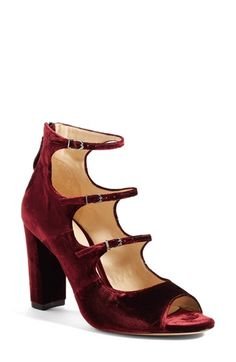 Free shipping and returns on Alexandre Birman 'Kylie' Strappy Peep Toe Sandal (Women) at Nordstrom.com. Shimmering burgundy velvet envelops a gorgeous peep-toe sandal detailed with delicate buckle straps and a towering block heel.