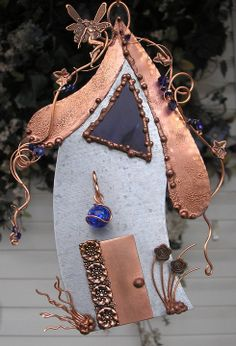 Water Fairy House - Stained Glass - Copper Steel Crystal - Flower - Orb Lantern - Fantasy on Etsy, $84.00