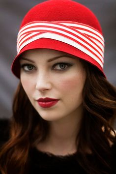 Red Stripe Cloche Winter Hat - Wool Felt (MaggieMowbrayHats on Etsy)