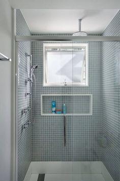 Washroom Design, Toilet Design, Modern Bathroom Design, Bathroom Interior, Small Bathroom Storage, Laundry In Bathroom, Shower Box, Hudson Homes, Window In Shower