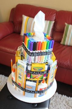 Teacher Gifts Scraps of Shirlee: school supply cake teacher appreciation gift Craft Gifts, Diy Gifts, Cute Gifts, Best Gifts, School Supplies Cake, Classroom Supplies, Art Supplies, School Gifts, Teacher Appreciation Gifts