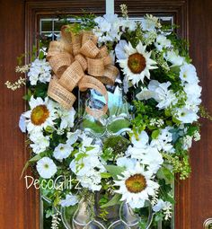WHITE SUNFLOWERS Grapevine Wreath with a NATURAL by decoglitz