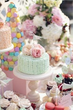 We want to be at this wedding. All the fun we could have designing bridal jewelry around this sweets table!