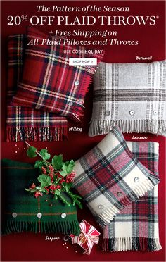 The Pattern of the Season - 20% OFF PLAID THROWS* + Free Shipping on All Plaid Pillows and Throws - USE CODE HOLIDAY - SHOP NOW